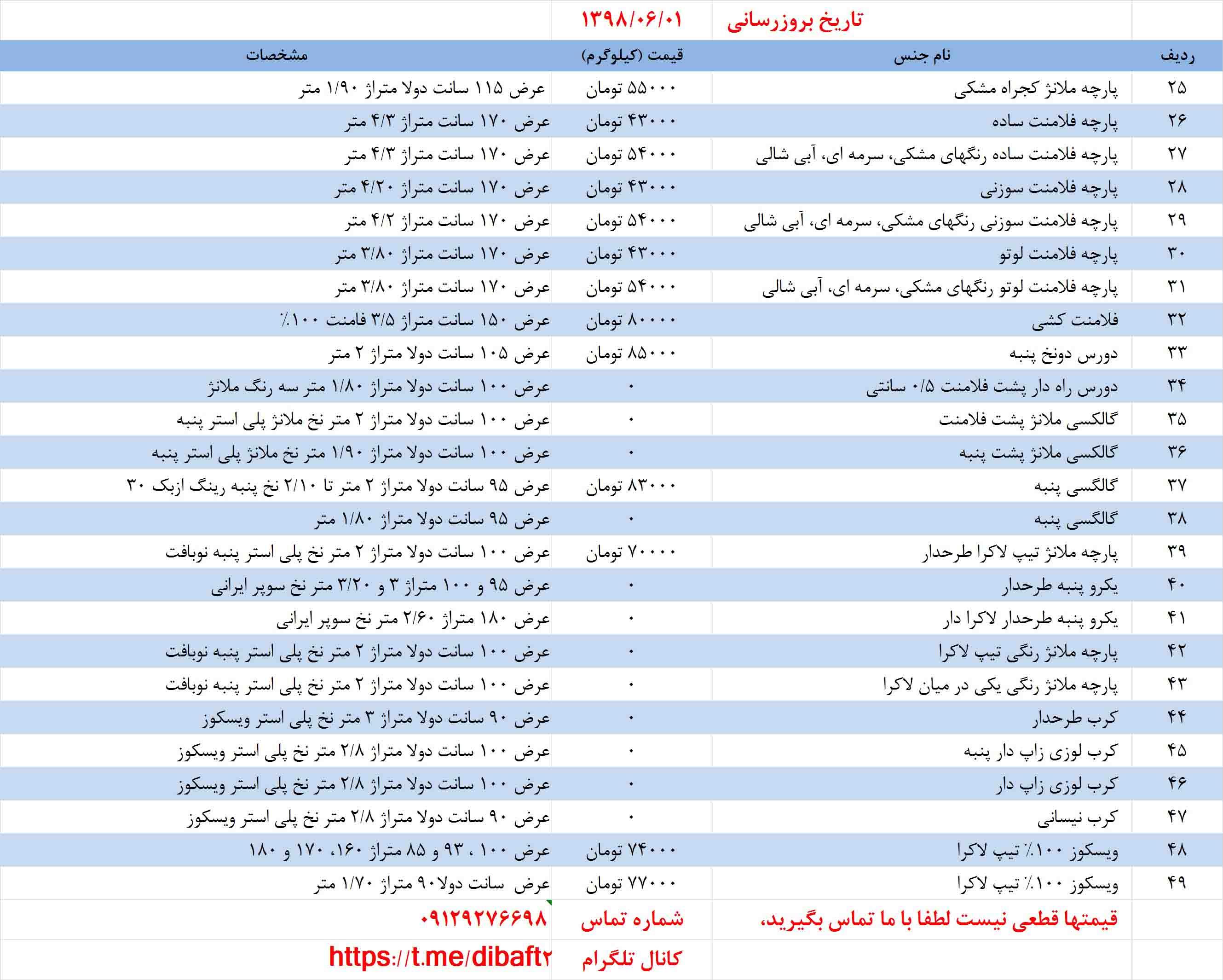 لیست قیمت پارچه گردباف